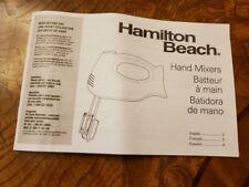 Hamilton Beach Hand Mixer Instruction Manual – Model 62682 and 62683