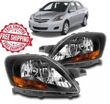 For 07 12 Toyota Yaris Headlight Black JDM Set Left Right Sedan Only