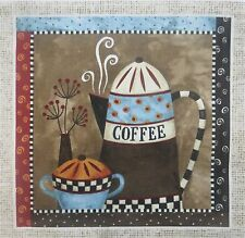 "TWO Coffee Cup Pot Heart Fabric Quilting Crafting 7"" Blocks Quilt Squares"
