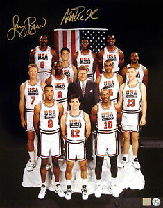 Magic Johnson & Larry Bird Autographed USA Olympic Team 16x20 Photo ASI Proof