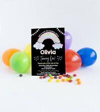 Personalised Birthday Invitations 1st Birthday Party Girl Invites Rainbow Pastel