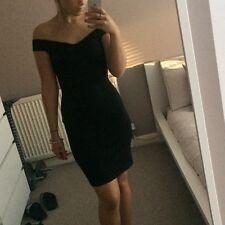 Topshop Ladies Off The Shoulder Black Dress Size 8