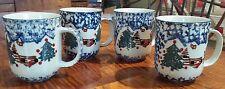 4 Folkcraft Christmas Country Cabin Tienshan Blue & White Sponge Coffee Mugs