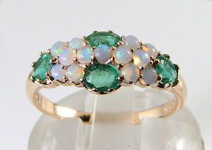 LUSH 9K 9CT ROSE GOLD OPAL & COLOMBIAN EMERALD ART DECO INS CLUSTER BAND RING