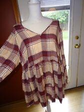 3e1e8e41 Lane Bryant Plaid Flannel Baby Doll Tunic Shirt Size 18/20