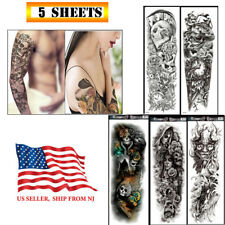 5 Sheets Fake Temporary Tattoo large Full Arm sticker waterproof Black color