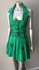 Retro Pin Up Vintage 90s does 50s Gogo Halter Pleated Mini Belted Green Dress S