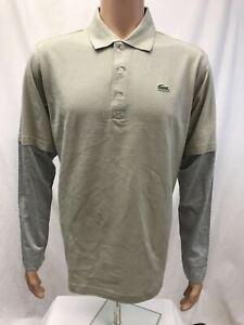 NWT Lacoste Sport Mens long sleeve 100% Cotton Golf Polo Shirt, Gray, 4/M-7/XXL