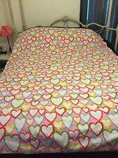 IKEA VITAMINER HJARTA DUVET COVER Twin Size Hearts Pink Yellow Orange White Blue