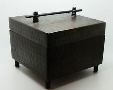 Antique English Arts & Crafts Peened Bronze Patinated Copper Lidded Box England