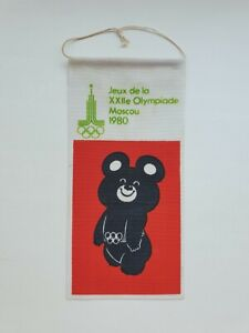 Original Vintage Very Rare Olympics Moscow 1980 French Bear Pennant Russian USSR