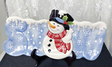 """Fitz And Floyd Snack Therapy Decorative Platter Snowman Holiday Plate 6.25""""x12"""""""