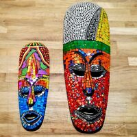 Wood Carved Wall Face Mask Colour Mosaic Mirror  Painted Wood Hand Made Tiki