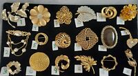 Huge Lot Vintage Gold Pins SINGLE OR LOT Trifari Monet Coro Napier Premier