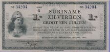 Suriname-Dutch,1 Gulden-Silver-Banknote,30.4.1942 Extra Fine Condition Cat#105-C