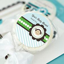 24 Blue Monkey Lollipops Personalized Lollipop Birthday Party Baby Shower Favors