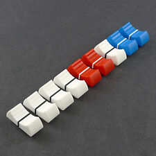 Mackie DFX 6 Mixer replacement Slider Fader Knobs 5 X White, 2 X Red & 2 X Blue