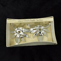 Vintage Mid Century Silver Wallace Pair o' Petals Candle Taper Holders w/ Box