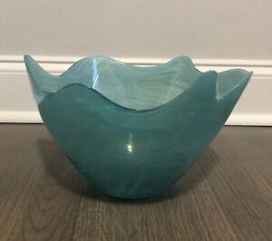 Aqua Blue Decorative Bowl Swirl Abstract Marbled