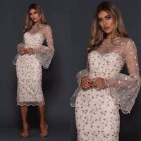 Elle Zeitoune Designer Womens Embroidered Midi Long Bell Sleeve Dress Cocktail