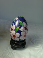 deep blue Chinese cloisonne egg on stand