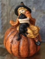 Victorian Trading Co Witch & Black Cat on Pumpkin Paper Mache Halloween Figure