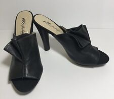 "New ABS Allen Schwartz Black Leather 5"" Heels Sz 9.5 M Peep Toe Shoes"