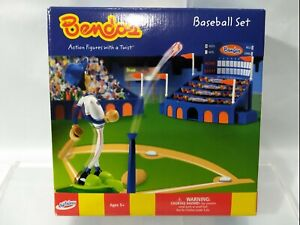 Bendos - Baseball Bendable Figure Playset - Complete - Kid Galaxy - 2002 - RARE