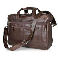 Men Genuine Leather 17'' Laptop Luggage Briefcase Pilot Work Flight Holdall Bag