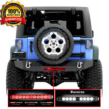 Rock Crawler Rear Bumper+3rd Brake LED Light RED lens fit 07-18 Jeep JK Wrangler