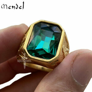 MENDEL Mens Gold Faux Green Emerald Stone Masonic Ring Stainless Steel Size 7-15