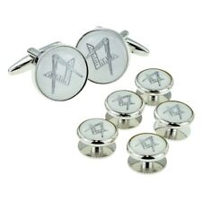 White & Silver Enamelled Masonic Cufflinks & 5 Button Stud Set in a Box X2Aj312