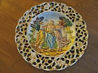 "CAPODIMONTE PLATE 3- GODDESSES HIGH RELIEF DECORATIVE WALL CHARGER 12 1/2"" ITALY"