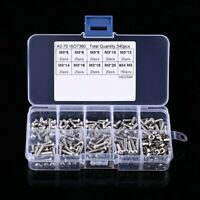 340pcs M3 Stainless Steel Bolts Button Head With Hex Nuts Screws Assortment Kits