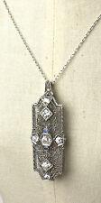 Stunning Edwardian 14K & Platinum Diamond 1.75ctw Sapphire Pin Pendant  EP830
