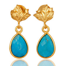 Handmade 18K Gold Plated Silver Turquoise Drop/Dangle Earrings Jewelry