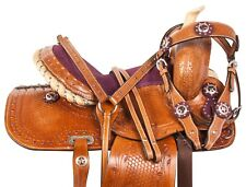 10 12 WESTERN PONY MINI YOUTH HORSE LEATHER SADDLE TACK PLEASURE TRAIL SET