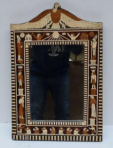 Vintage Egyptian Revival Wood Wall Mirror Frame, pharaoh Wall Hanging Mirror