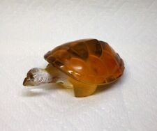 BEAUTIFUL VINTAGE SIGNED FRENCH LALIQUE AMBER COLOR ART GLASS TURTLE FIGURINE