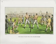 """1972 Vintage Currier & Ives BOXING """"CHAMPIONSHIP FIGHT, 1860"""" COLOR Lithograph"""