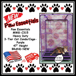 Paw Essentials MWG-C315 Heavy Duty 3-Tier Cat Condo / Cage - Purple, 47 in Heigh