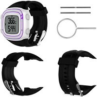 Black Silicone Bracelet Strap for Garmin Forerunner 10 15 GPS Watch with Tools