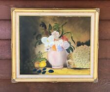 PRETTY VINTAGE FRAMED STILL LIFE PAINTING ON CANVAS. UNSIGNED
