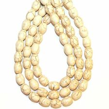 "NG2697j Creamy White Turquoise 12x8mm Oval Barrel Magnesite Gemstone Beads 15"""