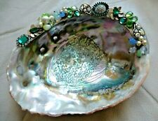 Vintage Jeweled Abalone Shell Mop Jewelry Holder Trinket Dish