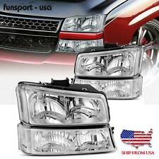 4pcs For 2003 2006 Chevy Silverado Chrome Housing Clear Side Headlightlamp Set Fits More Than One Vehicle
