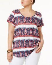 Lucky Brand Trendy Plus Size Printed-Stripe T-Shirt. Size 1X.