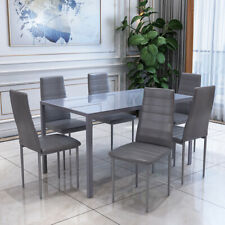 Modern Tempered Glass Dining Table Set 6 Soft Faux Leather Chairs Grey