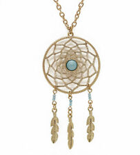 Dreamcatcher pendant boho gold necklace feathers charms turquoise with gift box