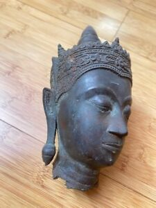 Skulptur, Figur Frauenkopf metall aus Afrika (?) - schwer 18cm